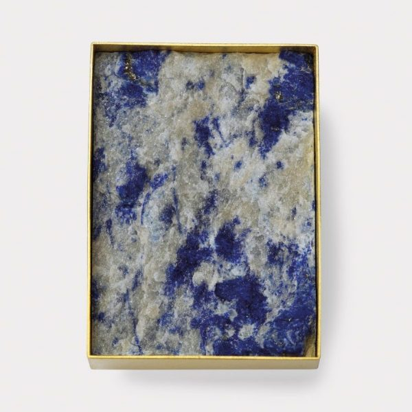 Brosche, 750 Gelbgold, Lapis Lazuli