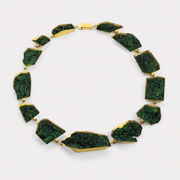 Collier, 750 Gelbgold, Uwarovit
