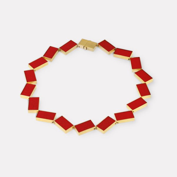 Collier, 750 Gelbgold, rotes Farbpigment
