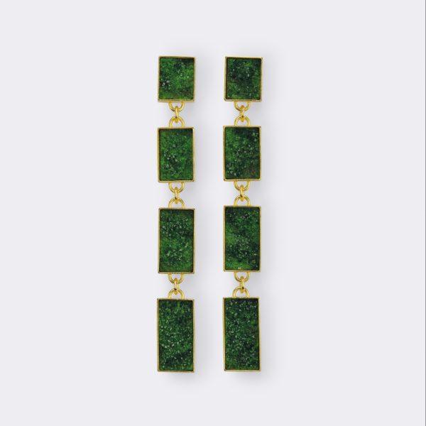 Ohrringe, 750 Gelbgold, Uwarovit