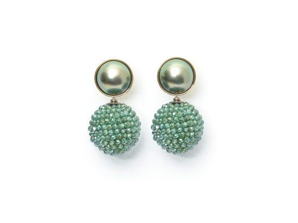 Ohrstecker, 750 Weißgold, Tahiti-Perlen - Einhänger, facettierter, grüner Diamant (beh.)
